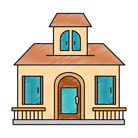 Schöne Vorderseite der Haus Vektor-Illustration Design Standard-Bild - 90189246