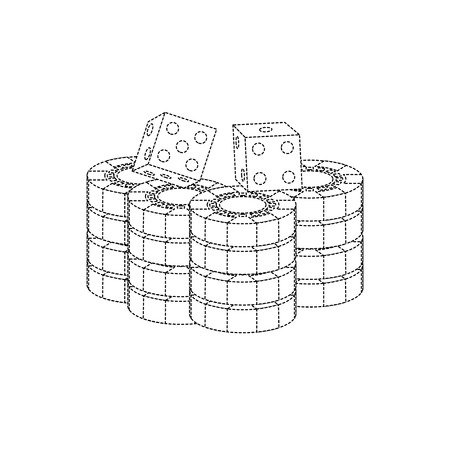 chips with dice casino related icons image vector illustration design