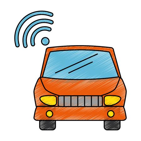 car vehicle with wifi signal vector illustration design Illustration