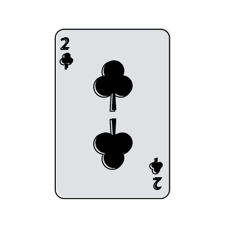 two of clover or clubs french playing cards related icon image vector illustration design