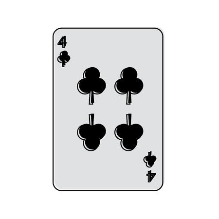 Cuatro del trébol o los clubs juego de naipes francés relacionado diseño del ejemplo del vector de la imagen del icono Foto de archivo - 90189253
