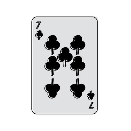 Siete de tréboles o clubes tarjetas de juego francés relacionadas con el diseño de ilustración de vector de imagen de icono Foto de archivo - 90189276