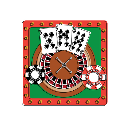 casino poker roulette playing cards and chips design vector illustration