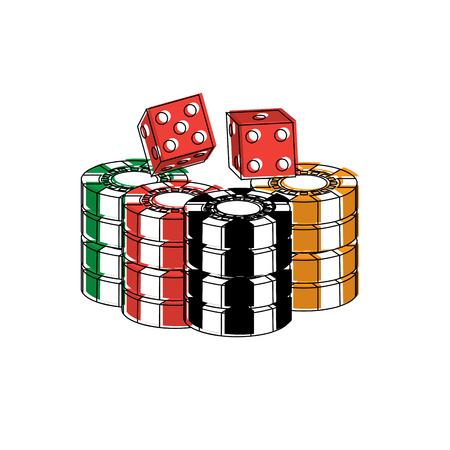 gestapeld chips en dobbelstenen voor spel in het casino vectorillustratie Stock Illustratie