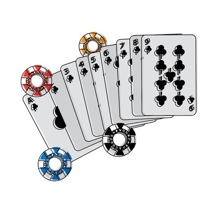 カジノ ポーカー カードとチップ ゲーム ラッキー概念ベクトル図