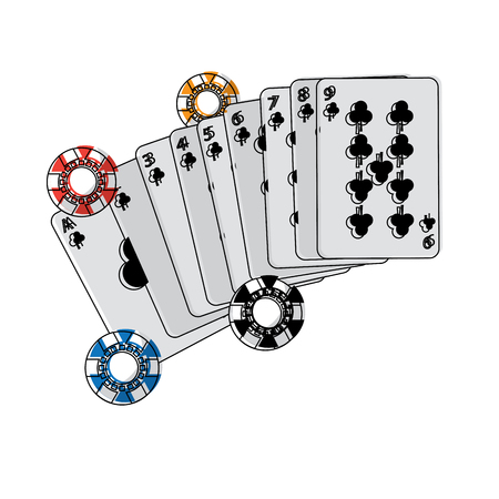 casino poker cards and chips game lucky concept vector illustration Ilustracja
