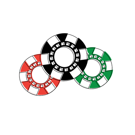 casino chips gamble fortune luck icon vector illustration