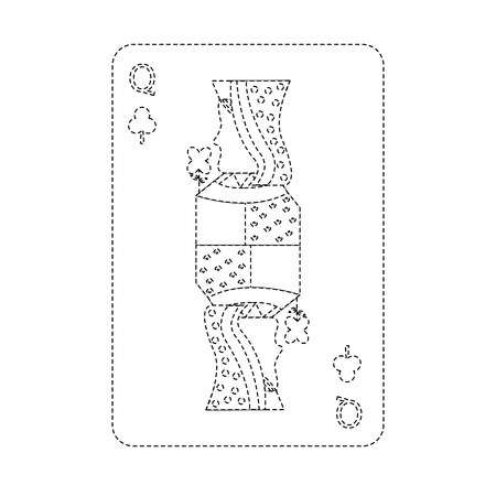 queen of clover or clubs french playing cards related icon image vector illustration design  Ilustração