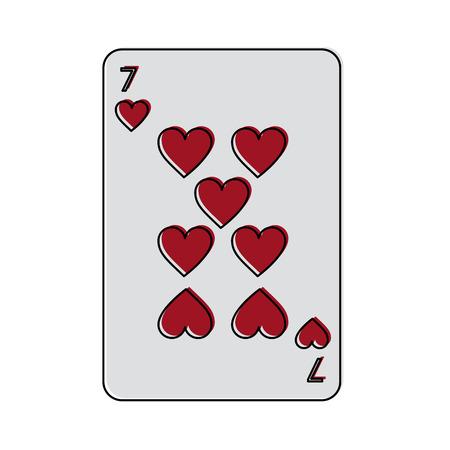 7 마음의 카드 놀이 관련된 아이콘 이미지 벡터 일러스트 디자인