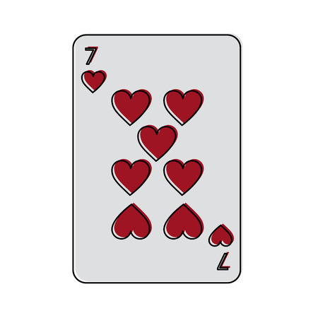 seven of hearts french playing cards related icon image vector illustration design