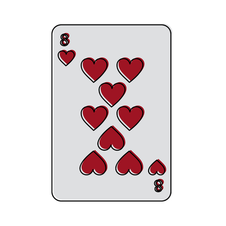 eight of hearts french playing cards related icon image vector illustration design