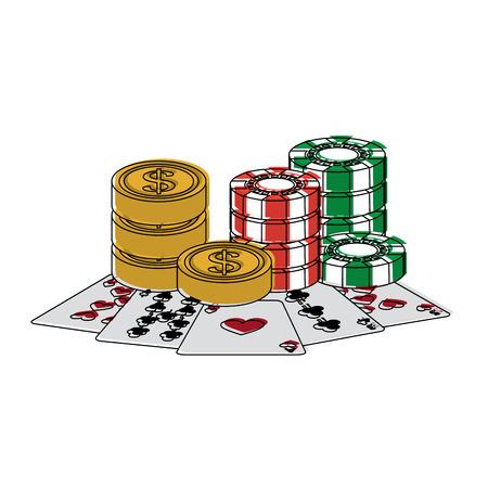 Chips Münzen Karten Casino verwandte Symbole Bild Vektor Illustration Design Standard-Bild - 90180118