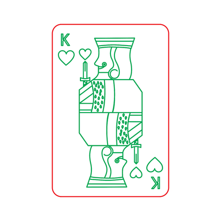 poker king of heart playing card vector illustration 向量圖像