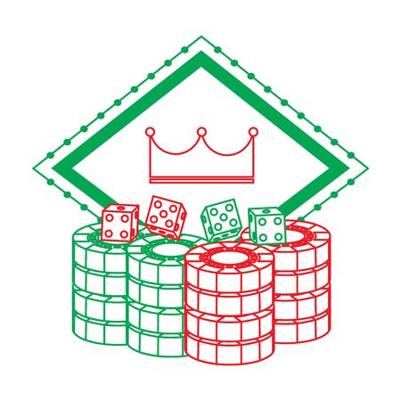 サイコロ チャンス エンブレムをギャンブル学習カジノ板クラウン チップ ベクトル図