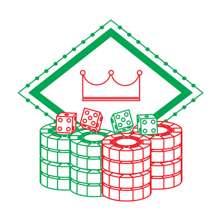 pocker casino board crown gambling chance emblem with dice chips vector illustration Illustration