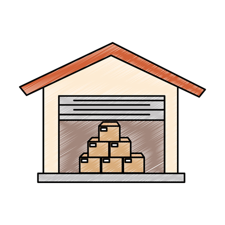 warehouse building with boxes vector illustration design