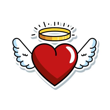 słodkie serce ze skrzydłami i projekt ilustracji wektorowych halo