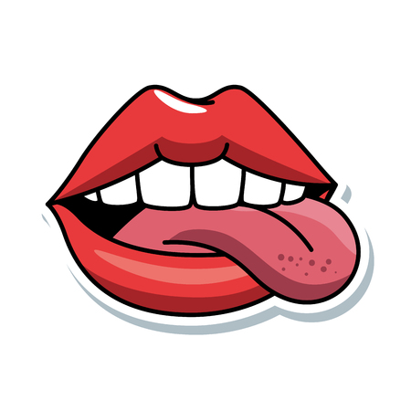 pop art lips with tongue out vector illustration design Vectores