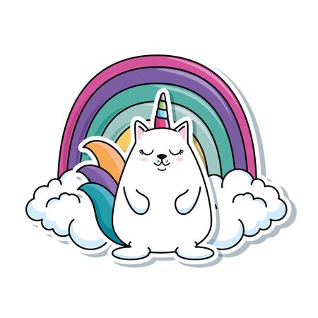 cute fantasy hamster with rainbow vector illustration design