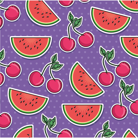 watermelon and cherry pattern background vector illustration design Ilustracja
