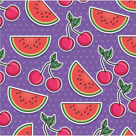 watermelon and cherry pattern background vector illustration design Ilustração