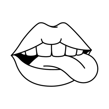 pop art lips with tongue out vector illustration design Illustration