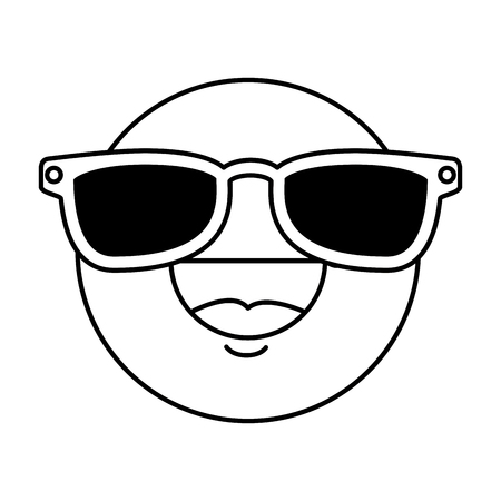 happy face emoji with sunglasses vector illustration design