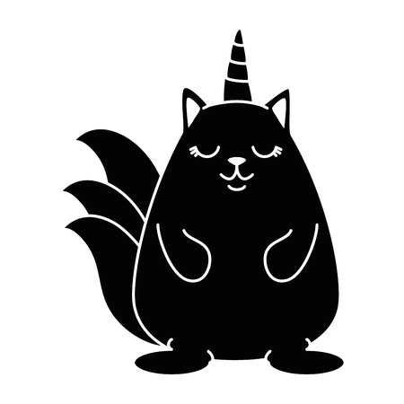 cute fantasy hamster with horn vector illustration design