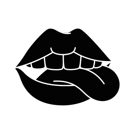 pop art lips with tongue out vector illustration design Çizim