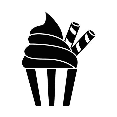おいしいカップケーキ分離アイコン ベクトル イラスト デザイン