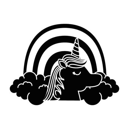 cute fantasy unicorn with rainbow character vector illustration design