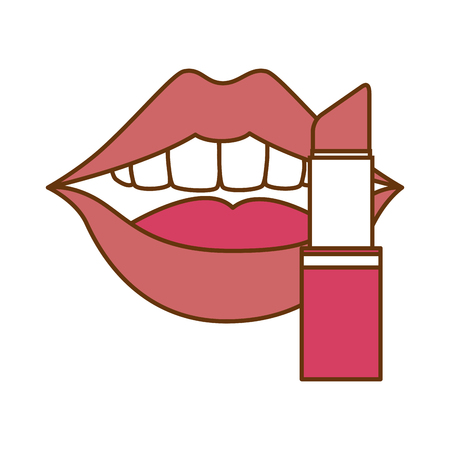 pop art lips with lipstick vector illustration design