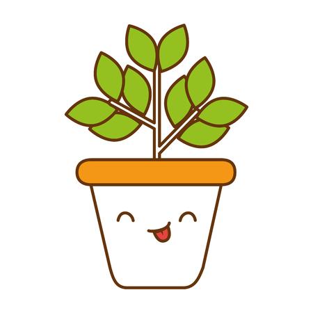 home plant kawaii character vector illustration design