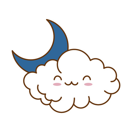 cute cloud with moon kawaii character vector illustration design Illustration