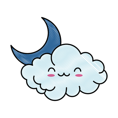 cute cloud with moon   character vector illustration design Illustration