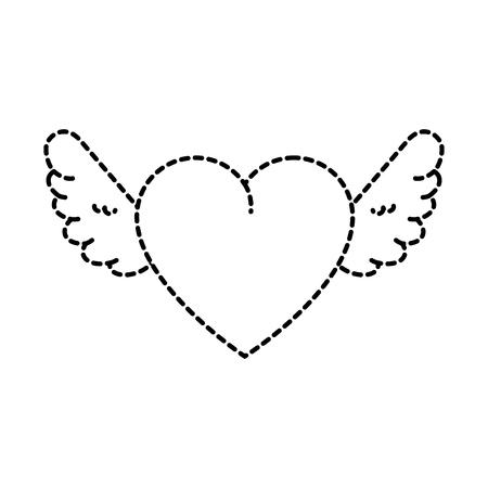 귀여운 하트 날개 벡터 일러스트 디자인