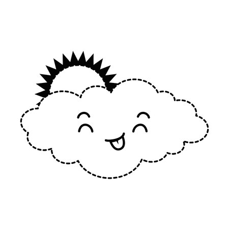 cute cloud with sun character vector illustration design