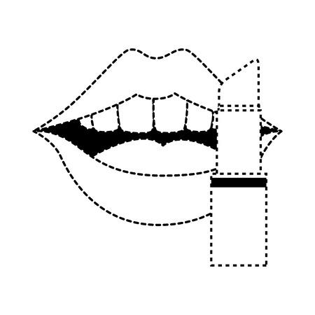 Pop lèvres d & # 39 ; art avec le rouge à lèvres illustration vectorielle design Banque d'images - 90190223