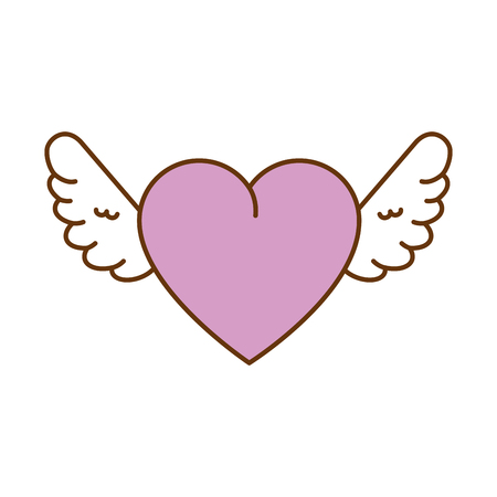 cute heart with wings vector illustration design