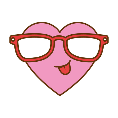 cute heart with sunglasses  character vector illustration design Vettoriali