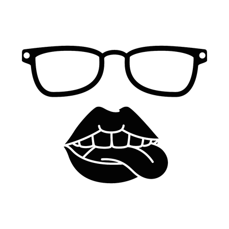 pop art lips with sunglasses vector illustration design