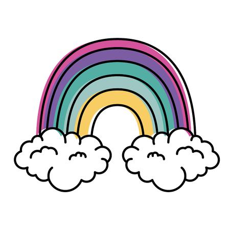 Diseño hermoso del ejemplo del vector del arco iris y de las nubes Foto de archivo - 90191665