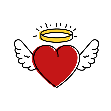 cute heart with wings and halo vector illustration design