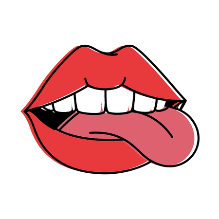pop art lips with tongue out vector illustration design 向量圖像