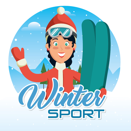 winter sports pepople with snowboard and skis Illustration