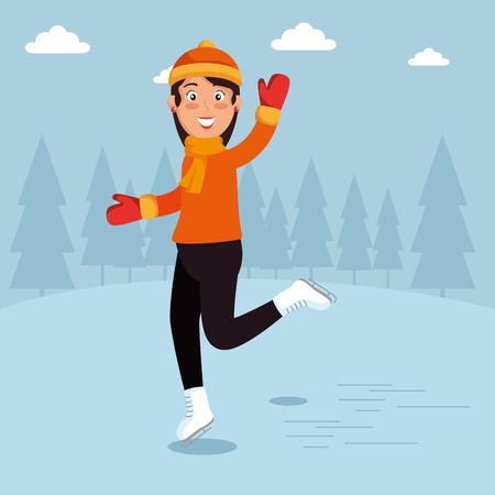 Hiver sportif gens heureux dessin animé illustration vectorielle conception graphique Banque d'images - 90226100