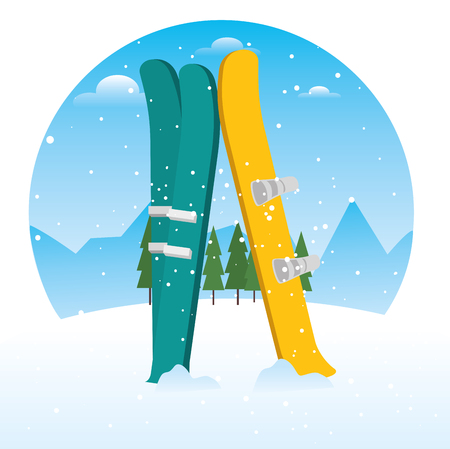winter sports ski and snowboard equipment vector illustration graphic design  向量圖像