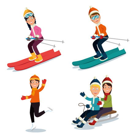 people doing winter sports vector illustration graphic design Stock Vector - 90229165