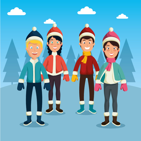 winter sports happy people cartoon vector illustration graphic design