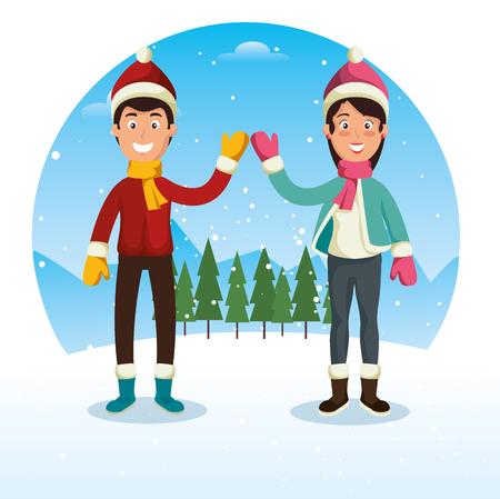winter sports happy people cartoon vector illustration graphic design